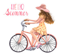 Watercolor Bicycle Girl Illustration. Summer Beach Bike And Young Women In Summer Dress And Hat Riding Her Beach Bike, Isolated On White Background. Hand Drawn Graphic. Vacation Mood