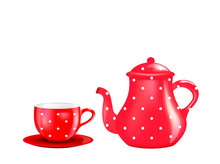 Red Tea Pot And Cup. Vector Il...