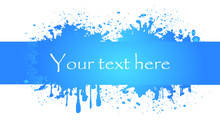 Abstract Blue Banner With Splashes.