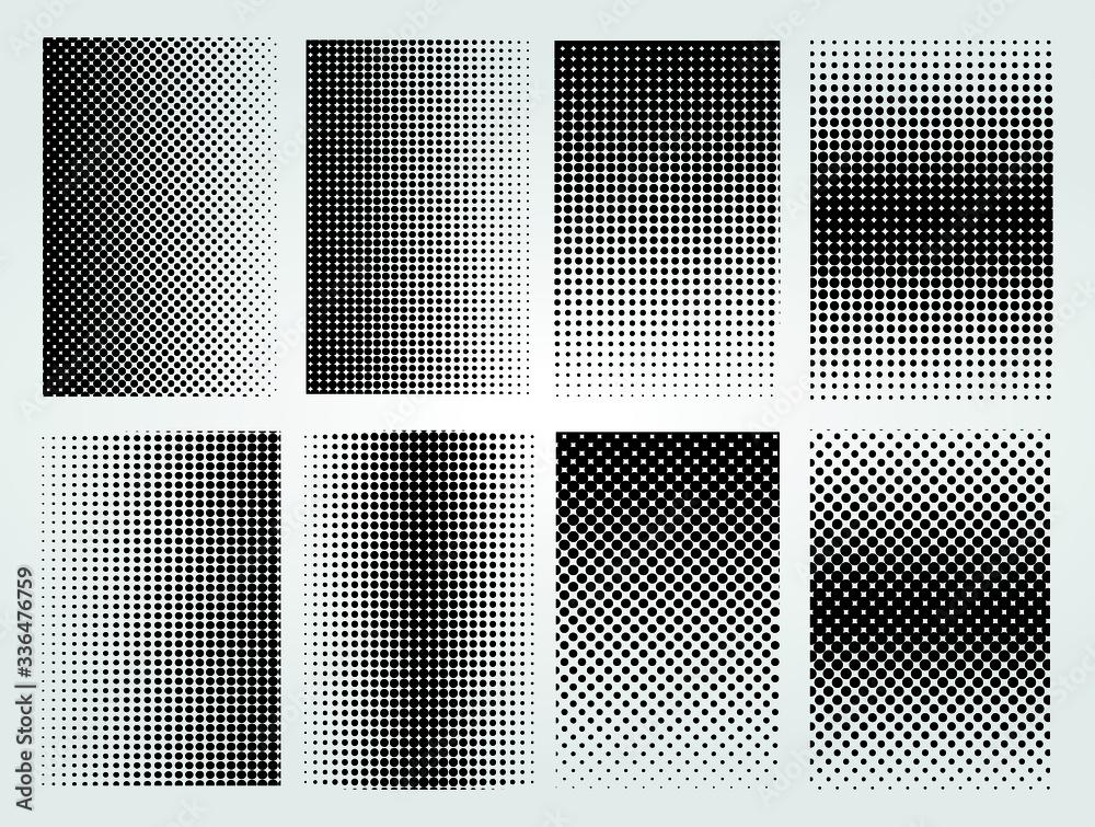 Fototapeta Set of halftone dotted backgrounds.