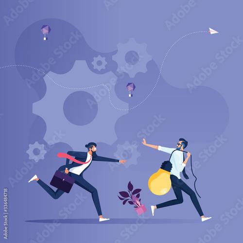 Cuadros en Lienzo Businessman stealing business idea-Copyright infringement concept