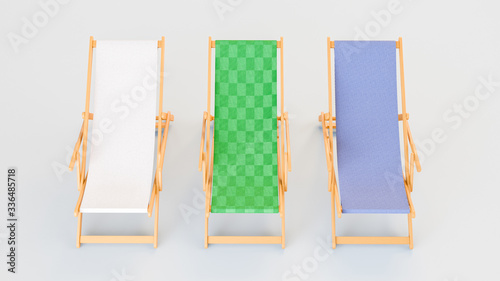 Tablou Canvas 3D image front view of three sunbeds with white green and blue fabrics staying i