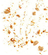 Bread Crumbs Isolated On White...