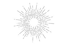 Sunburst. Light Rays, Sunburst And Rays Of Sun. Hand Drawn Black And White Design Elements, Linear Drawing, Vintage Hipster Style On White Background. Light Rays Sunburst. Vector Illustration