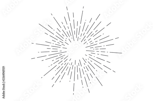 Obraz Sunburst. Light rays, sunburst and rays of sun. Hand drawn black and white design elements, linear drawing, vintage hipster style on white background. Light rays sunburst. Vector Illustration - fototapety do salonu