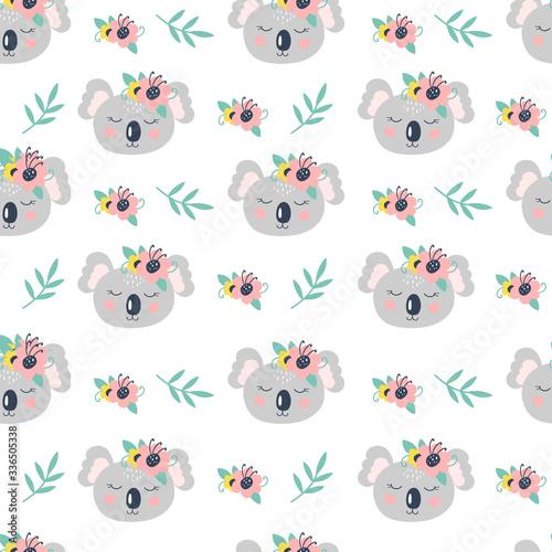 Fotografie, Obraz Seamless pattern with cute koala on a white background. Vector