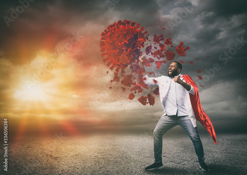 Canvas Print Super hero doctor with red cloak wins against viruses