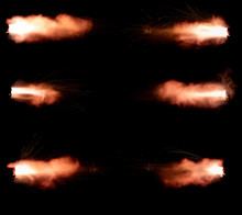 A Shot From A Firearm On A Black Background, A Fiery Exhaust With Flying Sparks, Flames Bursting Out Of The Pipe