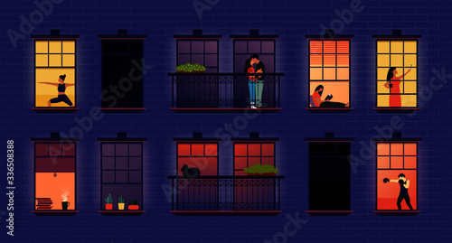 Fototapeta Neighbors in windows. Cartoon neighborhood house apartments, building exterior with people in opened windows and balcony, flat abstract indoors apartment set. Vector illustration obraz