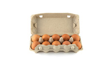 One Dozen Chicken Eggs In A Cardboard Container On A White Background