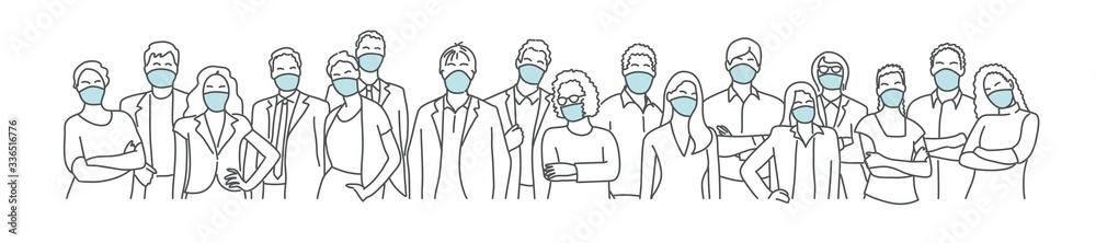 Fototapeta Group of people wearing medical masks to prevent disease, flu, air pollution, contaminated air. Coronavirus. Hand drawn vector illustration.