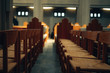 empty wooden chairs in a row in a church