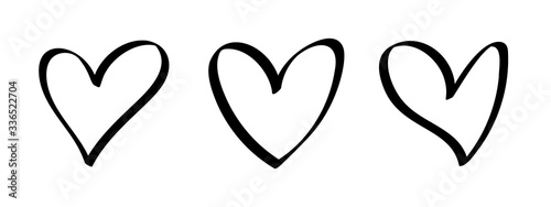 Vector set of hearts silhouette isolated on white background. Symbol of love. Hand drawn, cartoon style