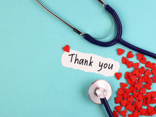 The Phrase Thank You On A Banner. Gratitude To Healthcare Staff. Heroes. People Who Saves Lives. Thankfulness. Life