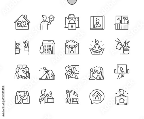 Stampa su Tela Stay at home Well-crafted Pixel Perfect Vector Thin Line Icons 30 2x Grid for Web Graphics and Apps
