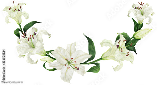 Fotografia Tropical floral traced watercolor arc with oriental white lilies