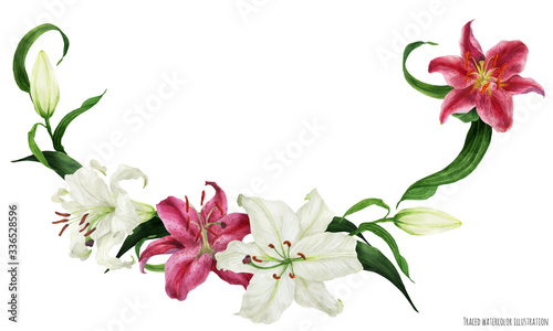 Tropical floral watercolor garland with oriental white and pink lilies Fototapeta
