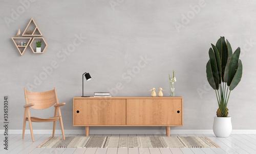 Sideboard and chair in living room for mockup, 3D rendering Slika na platnu
