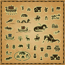Vector Collection Of Medieval, Viking And Fantasy Map Icons On A Worn Parchment Background With A Frame. Includes: Ships, Warriors, Castle, Dragons, Skeleton, Knight, Magician, Tower, Dungeon, Ogre.
