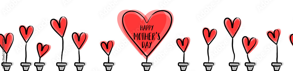 Fototapeta Happy mothers day seamless pattern with red hearts background isolated