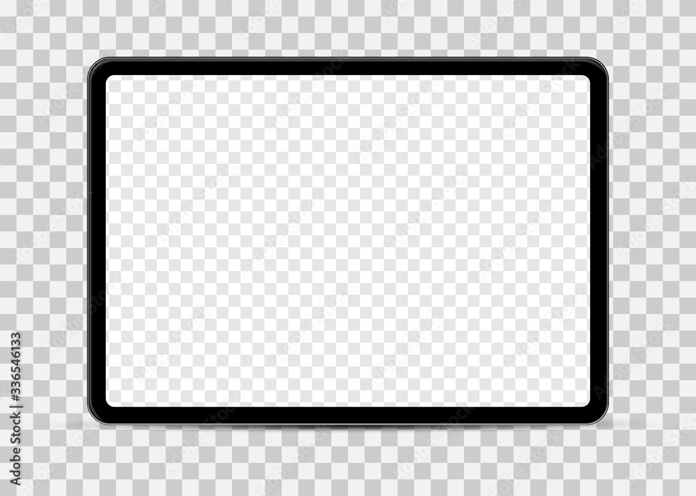 Fototapeta Simple tablet mockup with blank checkered transparent screen.