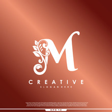 Initial Letter Logo M Luxury Beauty Flourishes.