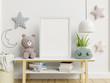 Leinwanddruck Bild - Mock up poster frame in children room,kids room,nursery mockup.