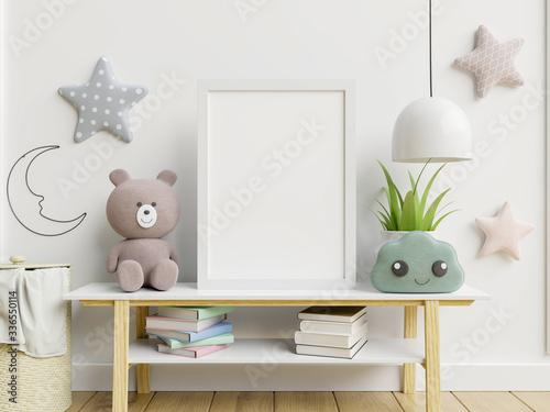 Obraz Mock up poster frame in children room,kids room,nursery mockup. - fototapety do salonu