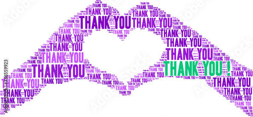 Photo Thank You word cloud on a white background.
