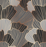 Abstract doodle pattern decoration in smooth gray, white and black, and golden lines of flowers - 336566132
