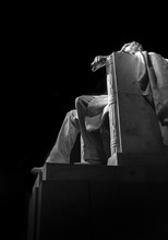 Low Angle View Of Abraham Lincoln Statue In Darkroom