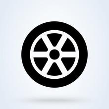 Car Wheel Icon. Vector Flat Ca...