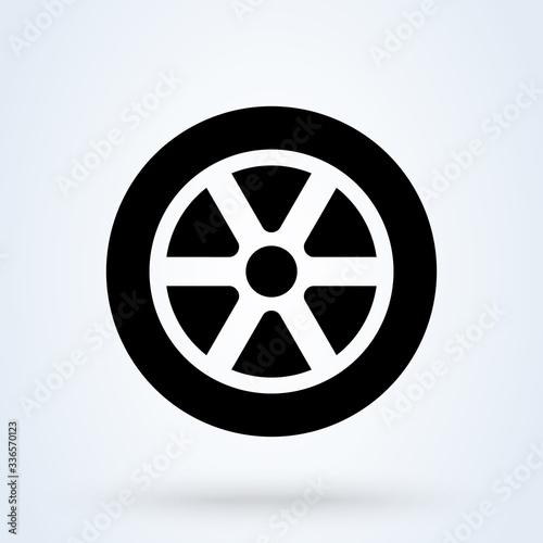 Car wheel icon. vector flat car tyre symbol Fototapeta