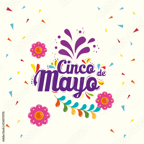 Mexican flowers and confetti design, Cinco de mayo mexico culture tourism landma Fototapete