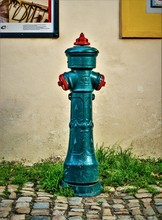 Vertical Image Of An Old Fire Hydrant On A Cobblestone Street With Grasses