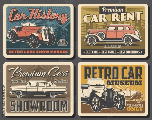 Retro cars vector design of vintage auto museum and old vehicles rental salon. Classic automobiles exhibition or motor club show posters with retro convertibles and antique sedan models Wall mural