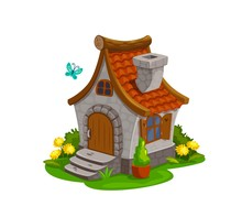 Fairy House, Dwarf Gnome And Elf Home, Vector Isolated Cartoon Icon. Fairy Tale Dwarf Gnome House Hut With Chimney, Wooden Door And Stair, Flowers In Garden Grass And Butterfly