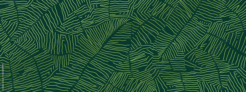 Fototapeta Tropical banana leaf Wallpaper, Luxury nature leaves pattern design, Golden banana leaf line arts, Hand drawn outline design for fabric , print, cover, banner and invitation, Vector illustration.
