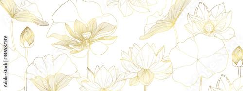 Tapety Botaniczne  luksusowy-wektor-tapety-lotosu-grafika-linii-lotosu-projektowanie-wzorow-kwiatow-zlotego-lotosu