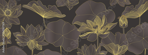 luxury lotus wallpaper design vector, lotus line arts, Golden Lotus flowers patterns design for packaging background, print, packaging, natural cosmetics, health care, invitation, cards. - fototapety na wymiar