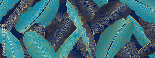 Obraz Tropical banana leaf Wallpaper, Luxury nature leaves pattern design, Golden banana leaf line arts, Hand drawn outline design for fabric , print, cover, banner and invitation, Vector illustration. - fototapety do salonu
