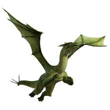 Green Dragon Isolated On White, 3d Render.