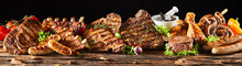 Various Barbecued Gourmet Meats On Timber Board