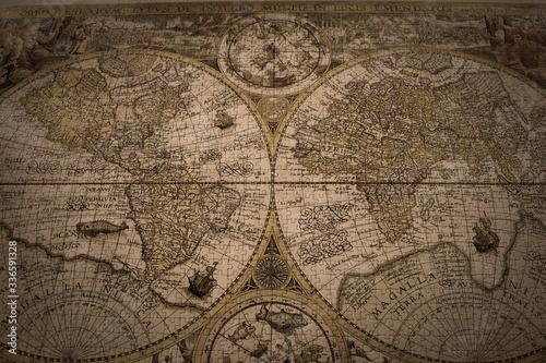 Fototapeta ancient world map puzzle obraz na płótnie
