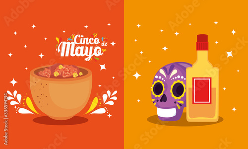 Obraz Mexican skull tequila bottle and bowl design, Cinco de mayo mexico culture tourism landmark latin and party theme Vector illustration - fototapety do salonu