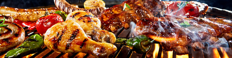Very wide panorama banner of meat on a barbecue