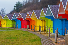 Row Of Colorful Closed Beach H...
