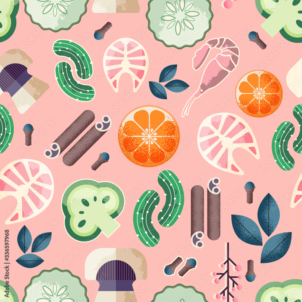 Trendy food seamless pattern. Good for leaflets, cards, posters, prints, menu, booklets