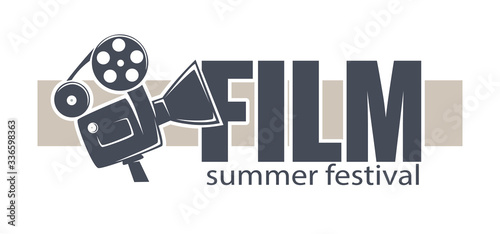 Film summer festival banner with movies reel and camera Wallpaper Mural