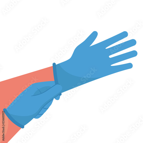 Valokuva Putting on gloves